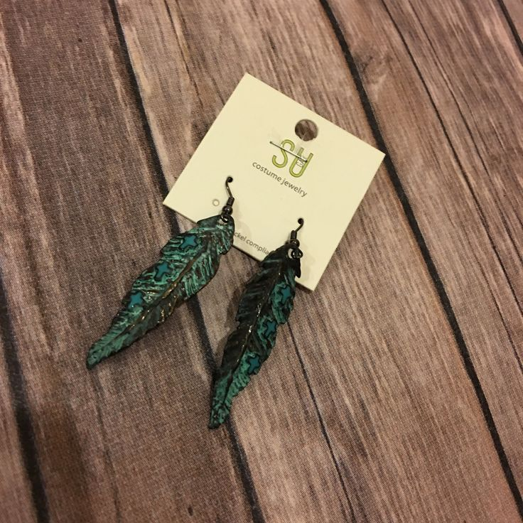Feather and Cross Earrings