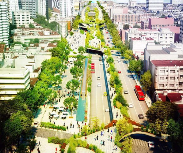 Highways have a way of cutting a city in half. But in Mexico City they now have a plan to a major 10-lane highway into a beautiful park, allowing some traffic to remain underneath elevated portions of the park.