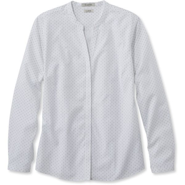 L.L.Bean Wrinkle-Free Pinpoint Oxford Shirt, Long-Sleeve Splitneck Dot (775 ARS) ❤ liked on Polyvore featuring plus size women's fashion, plus size clothing, plus size tops, button top, polka dot oxford shirt, pleated top, oxford shirt and fitted tops