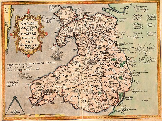16th-century Map of Wales - funny to look at!