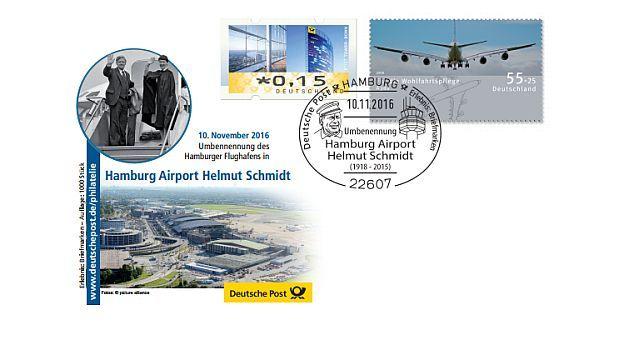 """Am 10. November, dem ersten Todestag Helmut Schmidts, erfolgt die Umbenennung des Hamburger Flughafens in """"Hamburg Airport Helmut Schmidt"""". Die Deutsche Post legt aus diesem Anlass einen Handwerbestempel auf. Das """"Erlebnis: Briefmarken""""-Team (EBT) Hamburg ist mit einem eigenen Beleg vor…"""