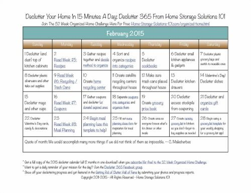 Free printable February 2015 declutter calendar with daily 15 minute decluttering missions from Home Storage Solutions 101. Part of the Declutter 365 missions!