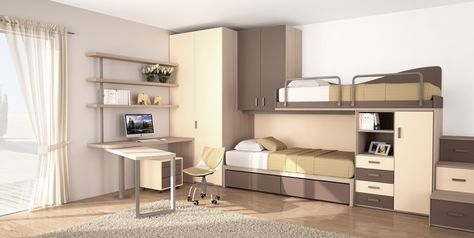 BADROOM - centri camerette specializzati in camere e camerette per ragazzi - Cameretta a ponte con letti pensili