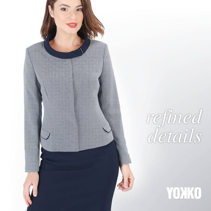 Refined details YOKKO   fall16 #jacket #fall #yokko #blue #details #officeoutfit #style