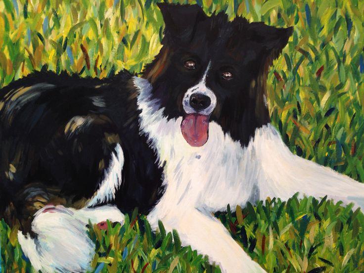 Black and white dog  Acrylic on canvas  2015