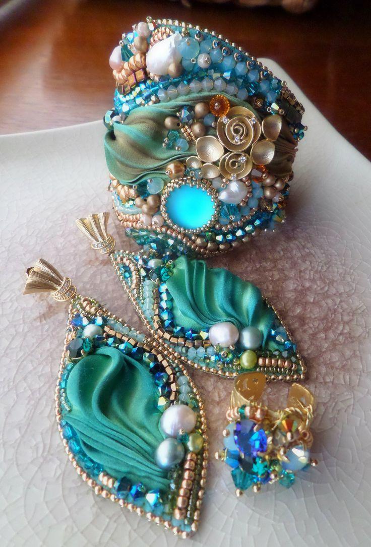 Shibori silk - Embroidery Earrings Serena Di Mercione Creation