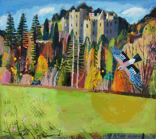 Dunster Jay, acrylic on board ( framed 63x58cms) Mary Sumner