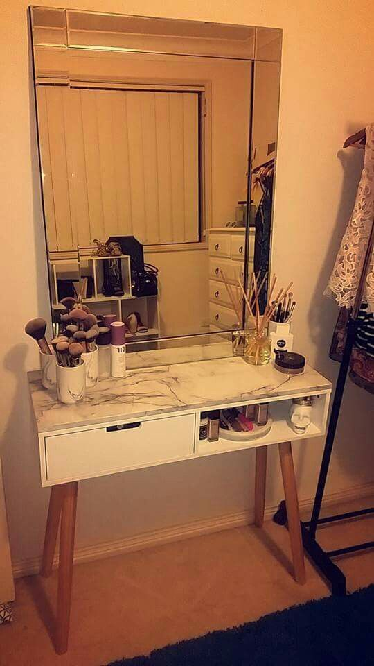 Kmart table, marble shelf and mirror. #kmarthack