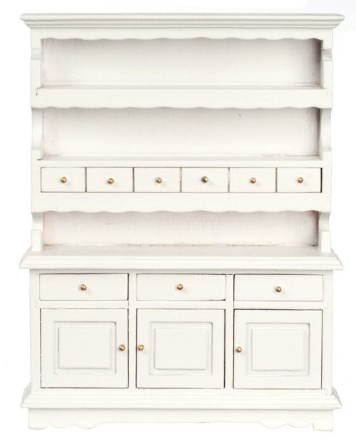 Traditional Large Kitchen Hutch - White