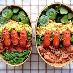 日本人のごはん/お弁当 Japanese meals/Bento ソーセージ人間弁当 Sausage men Bento
