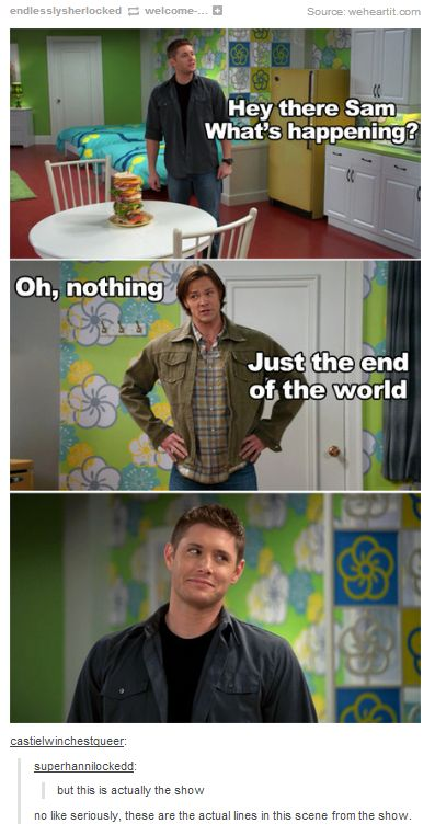 This isn't behind the scenes silliness--they didn't goof around on someone else's set--this is actually scripted dialogue from the show. What the actual heck, Supernatural? This is why we love you so.