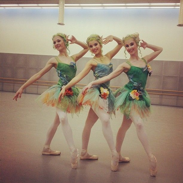 Nymphs from Beauty and the Beast, Finnish National Ballet.  In the middle, Suvi Honkanen, to the right, Emmi Karmitsa. Choreography Javier Torres. Costume design Erika Turunen.