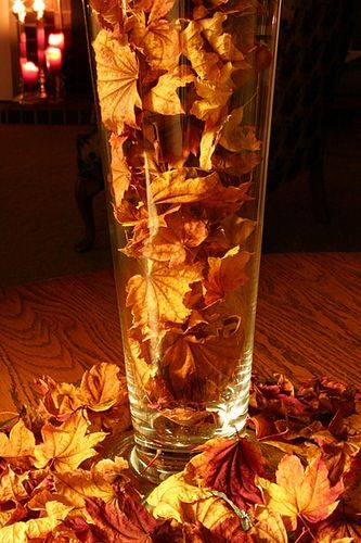 leaves/acorns pine cones in vase or glass dish/bowl...Simple and pretty