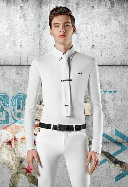 Polo da uomo maniche lunghe Equiline modello Hans in tessuto tecnico