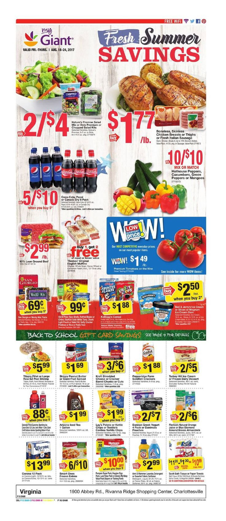 Giant Food Weekly Ad August 18 - 24, 2017 - http://www.olcatalog.com/grocery/giant-food-weekly-ad.html