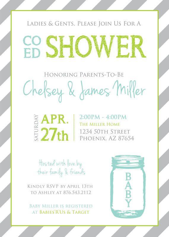 coed baby shower mason jar and stripes invitation