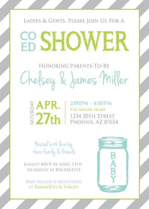 coed baby shower mason jar and stripes invitation