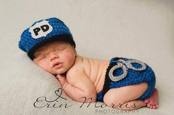Conjunto policía recién nacido sombrero y cubierta de pañal, oficial de policía Baby PHOTO PROP