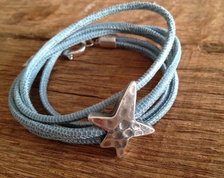 Wickelarmband Leder graublau Star von moanda auf DaWanda.com