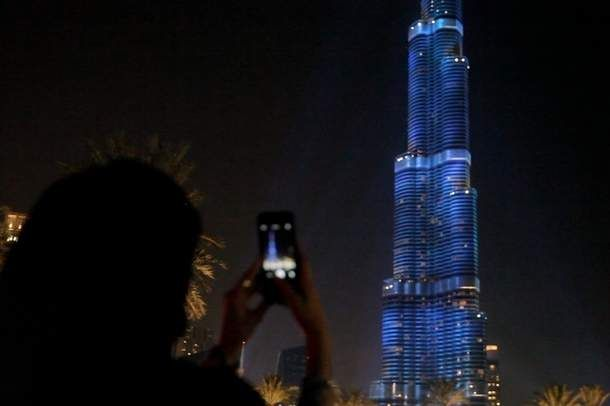 The Burj Khalifa was bathed in blue lights in support of the Dubai bid logo, after the city wins vote to host Expo 2020.Produced by Paul O'Driscoll
