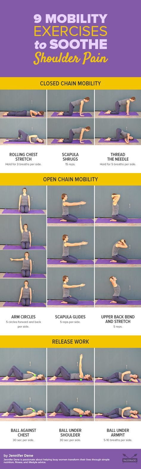 Do you have a tight upper back, rounded shoulders, or neck pain? To reduce shoulder pain after a long day of screen time, try these nine simple exercises. Get the full workout here: http://paleo.co/shoulderpainexercises