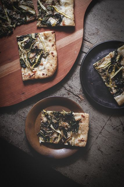 Caramelized Ramp & Ribboned Asparagus Pizza