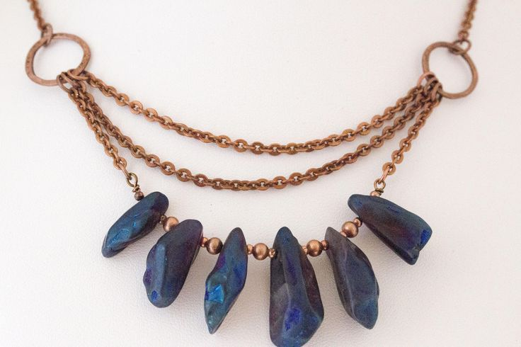 Natural Druzzy Quartz Agate and Copper Necklace, Semi Precious Stone Necklace, Bib Beaded Necklace, Handcrafted, Gift for Her by IvanRoseCreations on Etsy