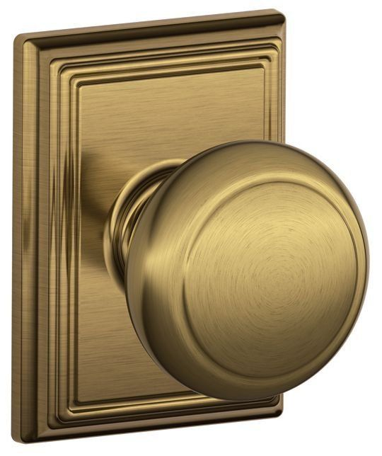 Great Schlage F10AND716ADD Antique Brass Passage Andover Door Knobset With The  Decorative Addison Rose   Handlesets.