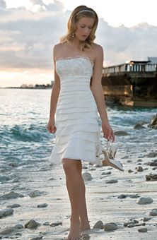 simple beach wedding dress    perhaps adding more layers for a tea-length or even a bit of lace to tie in with the top