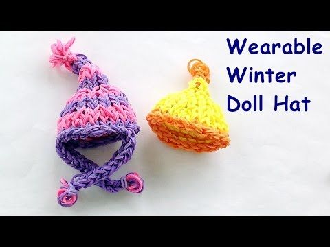 Barbie Loom Bands Winter Hat Charm Tutorial - How to make on the Rainbow Loom - YouTube