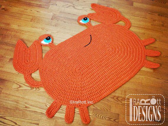 CROCHET PATTERN Cranky Crab Crochet Rug Nursery Mat Carpet PDF Crochet Pattern with Instant Download