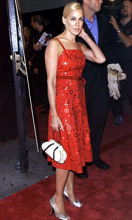 Sarah Jessica Parker Wearing A Red Sequin Dress At The GQ Awards, 2000