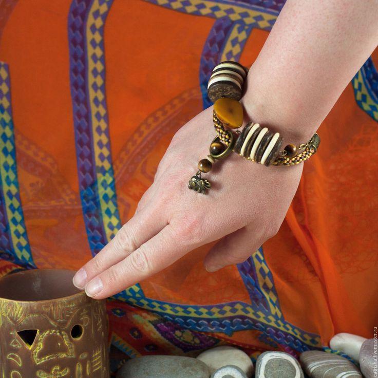 Купить Браслет Серенгети, Африка, Тагуа, желтый, эко бохо этно, саванна, жара