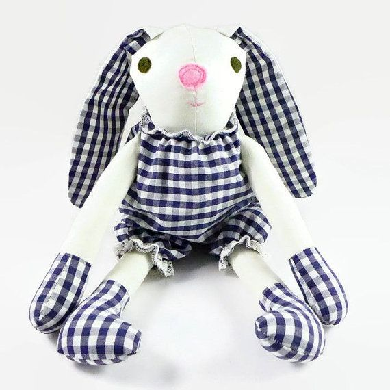 Stuffed Bunny Boy with Checkered Pants, Rabbit Toy, Christmas Gift