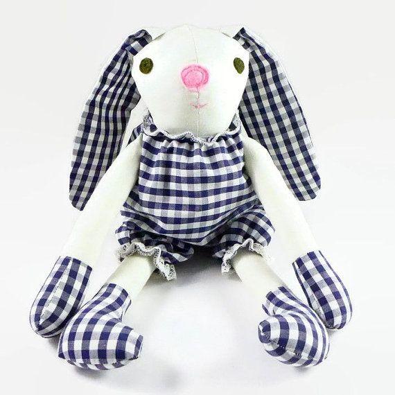 Stuffed Bunny Boy with Checkered Pants, Rabbit Toy, Christmas Gift