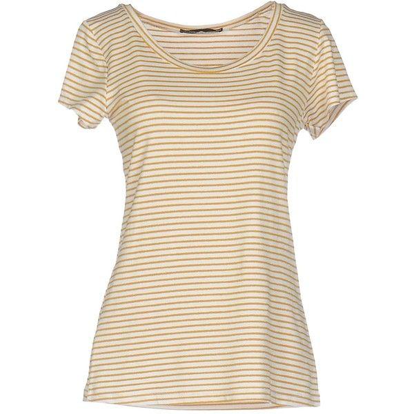 Boutique De La Femme T-shirt (1.745 RUB) via Polyvore featuring tops, t-shirts, camel, short sleeve pocket tee, pocket tees, short sleeve tops, short sleeve pocket t shirts и camel top