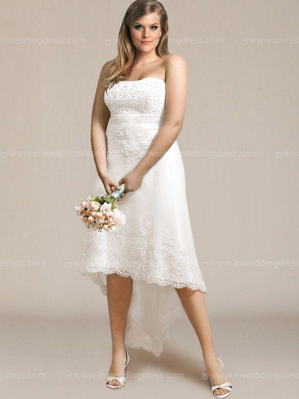 Unique Lace High Low Plus Size Wedding Dress PS