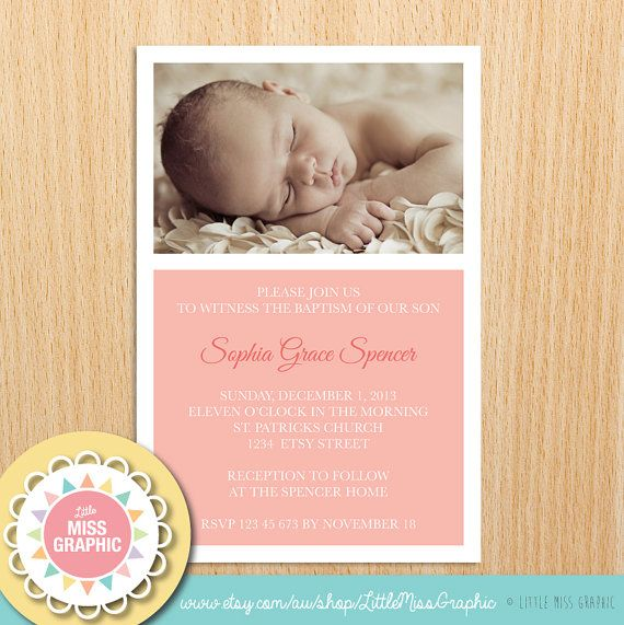 Personalized Baptism Invitation Girls by LittleMissGraphic, $12.00