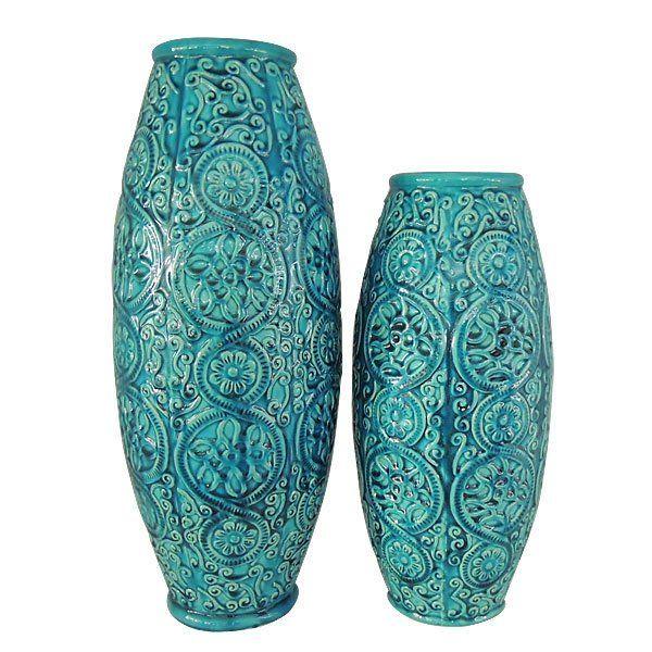 Blue Marrakeck Raised Relief Decorative Porcelain Vase Set Of Two