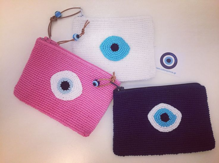 baptism bonboniera crochet evileye pouches by cotton prince