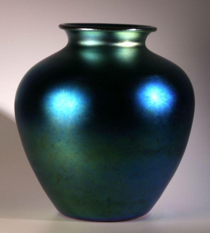 Blue Aurene vase   Frederick Carder for Steuben Glass