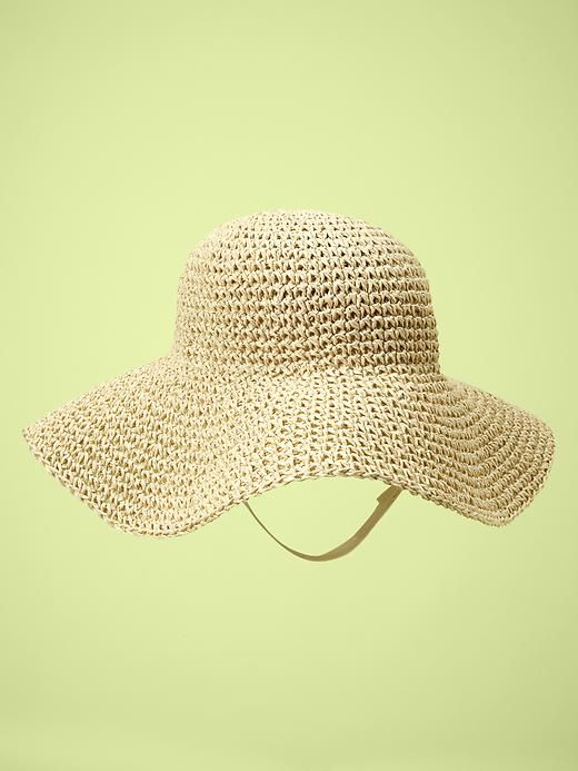 Baby Girl: Floppy Straw Hat in Neutral ... pair this with that cute pink ruffle swimsuit :)
