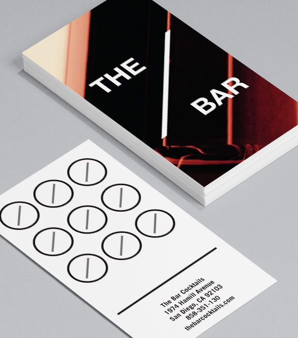 The Bar: this edgy design, which merges both Business Card and loyalty card, is perfect for cocktails bars, clubs or anyone looking for a crisp urban look. #moocards #businesscard