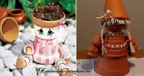 Кашпо-человечки из цветочных горшков - мастер-класс по созданию садовых фигурок и кашпо для цветов. Фигурками можно украсить сад, балкон или подоконник.