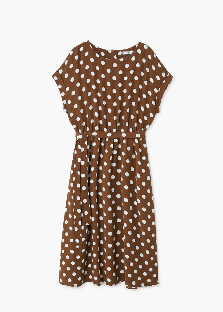 Straight design Polka-dot pattern Flowy fabric Rounded neck Short sleeve with turnover Elastic waist Lace fastening Button fastening on the back section