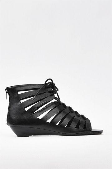 Laced Up Sandal - Black