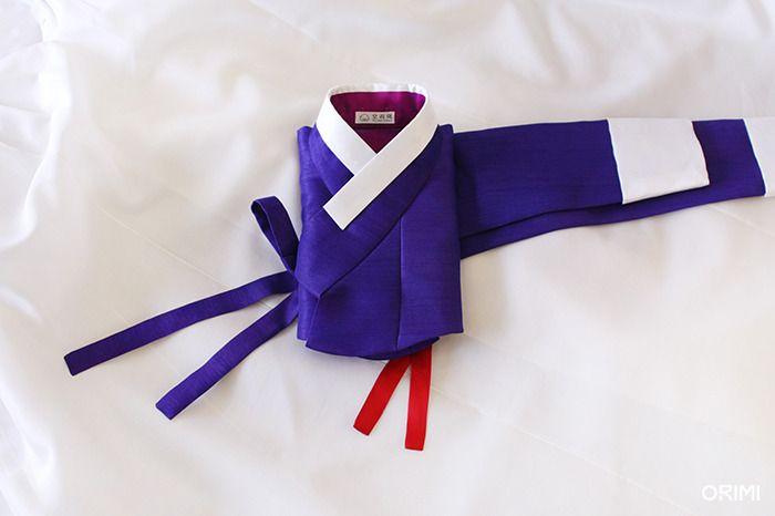오리미한복 :: 보라 저고리와 새하얀 치마의 오리미 신부 한복