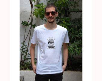 Dirty Mind Moustache Man Organic Cotton Silkprinted Koumpaki T-Shirt/Dirty Funny Moustache Man Radiohead Lyrics Inspired T-Shirt*