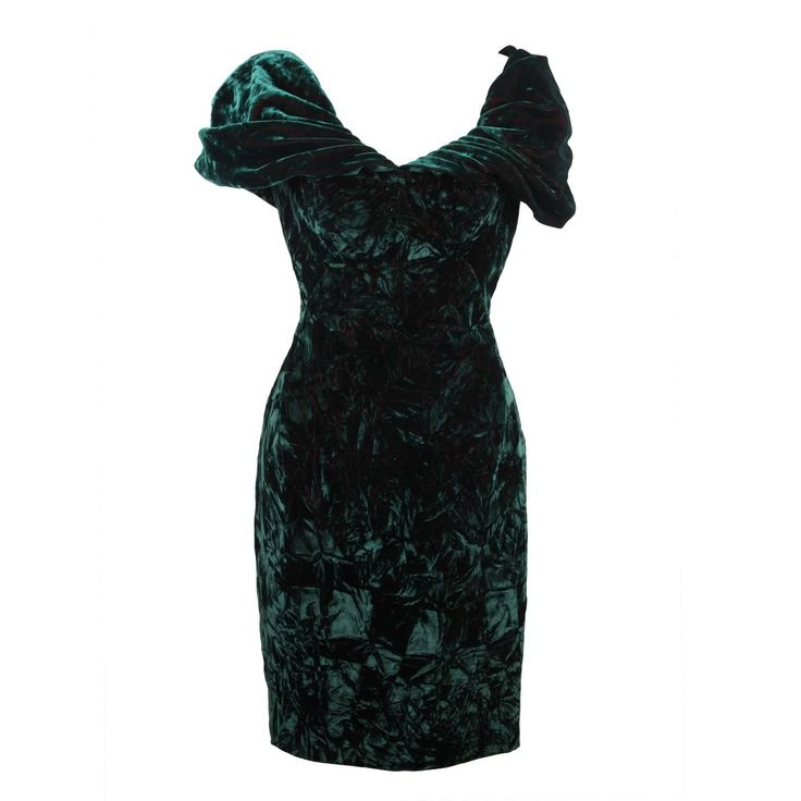 ANTONY PRICE Vintage Green Velvet  OFF SHOULDER Mini DRESS Size 10 UK | From a collection of rare vintage evening dresses and gowns at https://www.1stdibs.com/fashion/clothing/evening-dresses/