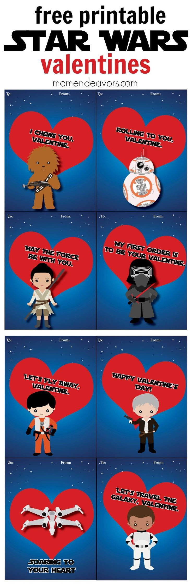 Star Wars Printable Valentines - These Force Awakens valentine cards are sure to be a bit this Valentine's Day!